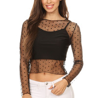 BT 755 BLACK DOT MESH TOP
