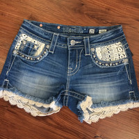 Miss Me Lace Accent Denim Shorts - Light