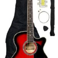 Barcelona Thinline Cutaway Folk Acoustic-Electric Guitar with Accessories - Red