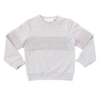 Crew Neck Sweater Lines Grey
