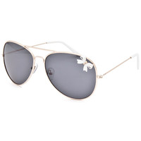 Full Tilt Bow Aviator Sunglasses White One Size For Women 25642615001
