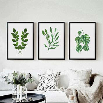 Spring Green Fresh Leaf Watercolor A4 Print Art Canvas Poster Picture Wall Modern Minimalist Flower Painting Home Decoration