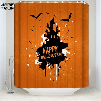 Warm Tour Grunge Halloween Background with Haunted House and Bats Shower Curtain Fabric Polyester Waterproof Bathroom Curtains