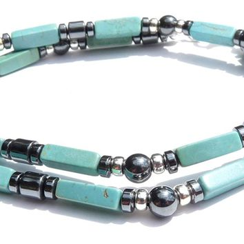 """Path to Wisdom"" Men's Crystal Healing Necklace, Chinese Turquoise, Hematite  MN29"