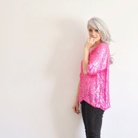 fuchsia PINK sequin blouse . boxy sparkle top .large.extra large.xl