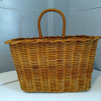 Vintage, Wicker, Basket, Hanging, Hanging Basket, Rectangle, Basket with Handle, Kitchen Decor, Craftroom Decor, RhymeswithDaughter