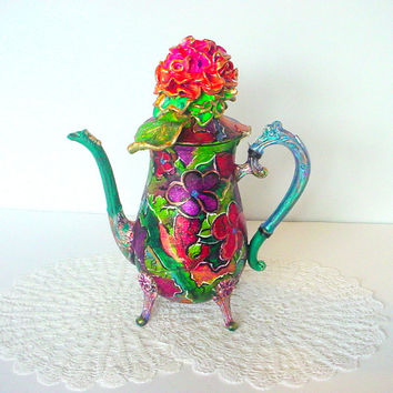 Silver Teapot Vintage Teapot Handcrafted Polymer Clay Flower Teapot Silver Tea Pot Hand painted Tea pot Painted Teapot Upcycled Teapot Large