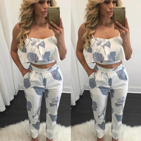Sexy Spaghetti Strap V-neck Print Pants Women's Fashion Bottom & Top [8998742852]