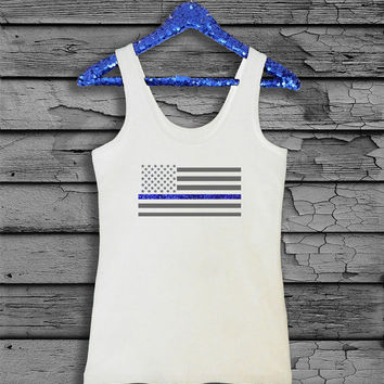 Police Officer Thin Blue Line American Flag with Blue Glitter T-Shirt - Tank Top - Baseball T-Shirt