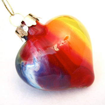 Handmade Glass Heart Ornament Painted Inside Chakra Tie Dye Rainbow Colors OOAK Decoration