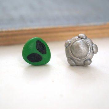 UFO Alien and Spaceship Polymer Clay Miniature Stud Earrings, Handmade Postg Earrings