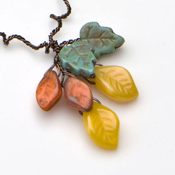 Yellow Beaded Necklace, Leaf Necklace, Fall Jewelry,  Nature Jewelry