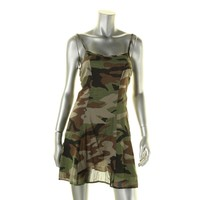 Denim & Supply Ralph Lauren Womens Open Back Camouflage Slip Dress