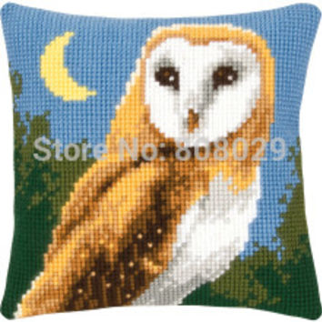 OWLS Crafts Cushion   Printed Cross Stitch Kits Tapestry pillow KIT Home Decorative Pillows Needlework cushion