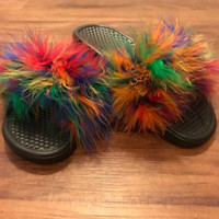 Nike Faux Fur Rainbow Color Slides