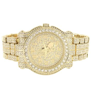 Men's Prayer Hands Gold Finish Iced Out Hip Hop Watch
