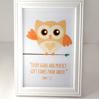 James 1:17 Bible Art - Owl Framed Art - 4x6 Framed Print - Christian Scripture Art