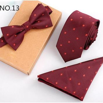 3 Piece Slim Men Tie, Bow Tie and Handkerchief Set - Red Pattern