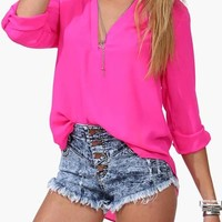Stunning Rose V Neck Long Sleeve T Shirt