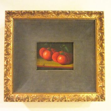 Still Life  Red Tomatoes Signed Oil On Canvas Spanish Painting Monogram JR