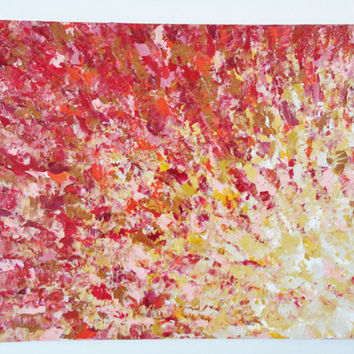 AUTUMN on the Water Acrylic Painting 11 x 14 FREE Shipping Red Magenta Rust Mustard Ochre Water Reflection Fall 2012 Thanksgiving Halloween