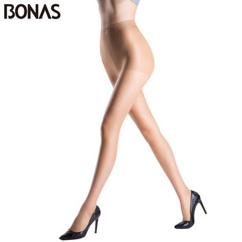 BONAS Spring Sexy Nylon Women's Tights Fashion Lady Stretchy Hosiery Spandex Black Pantyhose Solid Color Female Thin Stockings
