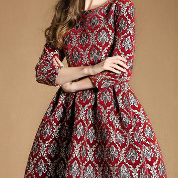Red Three Quarter Sleeves Pockets Vintage Print Dress