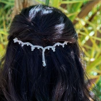 Silver Wave Teardrop Hair Chain, Hair Vine