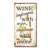 "Decorative Wood Wall Hanging Sign Plaque ""Wine Improves With Age"" Off White Black Home Decor"