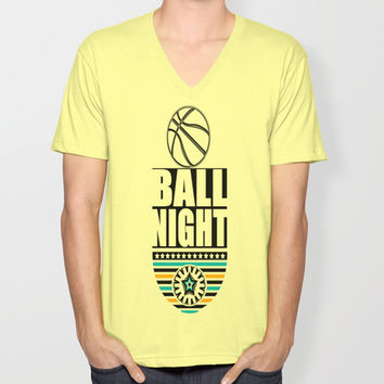 BALL NIGHT Unisex V-Neck by Robleedesigns