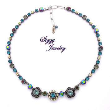 Swarovski Crystal Necklace, Blue, Metallic Green, Black Diamond, Volcano, Focal Flower Embellishments, Extra Long, Antique Silver, ROXANNE