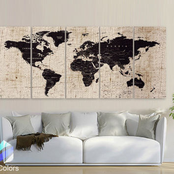 "XLARGE 30""x70"" 5 Panels Art Canvas Texture Print Map World  Cities Push Pin Travel Wall Brown beige decor Home interior (framed 1.5"" depth)"