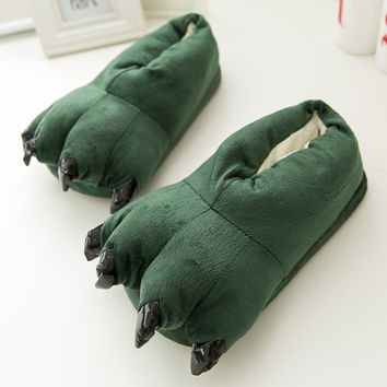 Autumn and winter super soft coral velvet paw shoes Stitch plush dinosaur explosion models cotton slippers