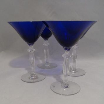 Cobalt Martini Glasses With Faceted Stems  S/4