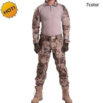 HOT 2018 Outdoors spring Autumn CP Tactical Camouflage Sleeve Jungle Combat Army Military Patchwork Slim Fit Commando Set S-XXXL