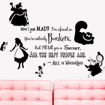 Wall Decal Vinyl Sticker Decals Art Decor Design Alice in Wonderland Rabbit Cat Clock Have ou gone Mad Quote Dorm Bedroom Fashion (r1335)
