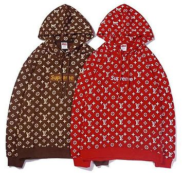LV & Supreme Autumn Winter Popular Women Men Print Hoodie Sweater Top Sweatshirt