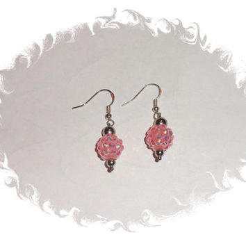 Pink Pave Rhinestone Crystal Silver Beaded Dangle Earrings