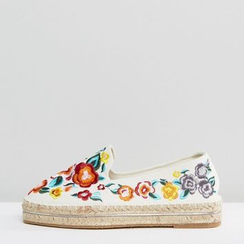 ASOS JUNE FLOWER Embroidered Espadrilles at asos.com