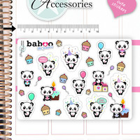 Kawaii Birthday Stickers Cute Baboo Panda Stickers Birthday Stickers Planner Stickers Functional Stickers Decorative Stickers NR781