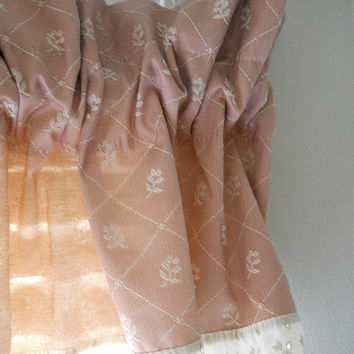 Pink Valance Mid Century Bathroom Valance Floral Valance Cottage Valance 50s Kitchen Decor Bedroom Valance Brocade Curtain Valence Vintage