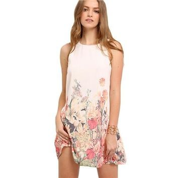 Ladies Multicolor Sleeveless Flower Print Boho Dresses New Arrival