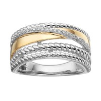1/10 Carat T.W. Diamond Two Tone Sterling Silver Crisscross Ring (White)