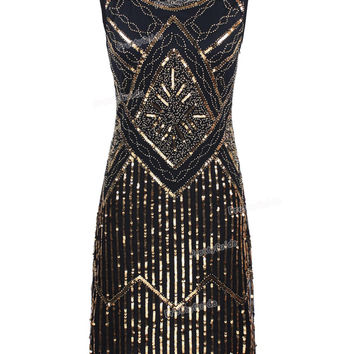 PrettyGuide Women Vintage 1920s Great Gatsby Sequin Beaded Double Side Scalloped Hem Flapper Party Dress
