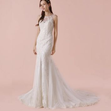 Sleeveless Sheath Wedding Dress With Lace Appliques