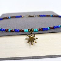Sun Beach Necklace, Wood and Turquoise Hippie La Sol Beach Necklace, Blue and Brown Beaded Necklace