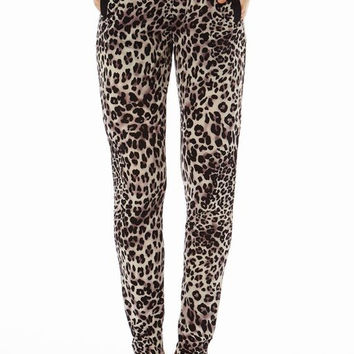 Purple Leopard Printed 2 Pocket straight Bottom Pants