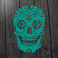 Sugar skull decal Sugar skull sticker Sugar skull art Calavera decal Day of the dead Sugar skull wall art Sugar skull laptop Sugar skull car
