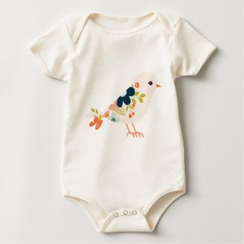 Pink Boho Tribal Bird Baby Bodysuit