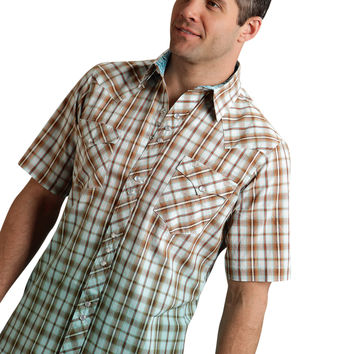 Roper Mens 9535 Dobby Plaid Performance None Short Sleeve Shirt Snap Closure - 2 Pocket